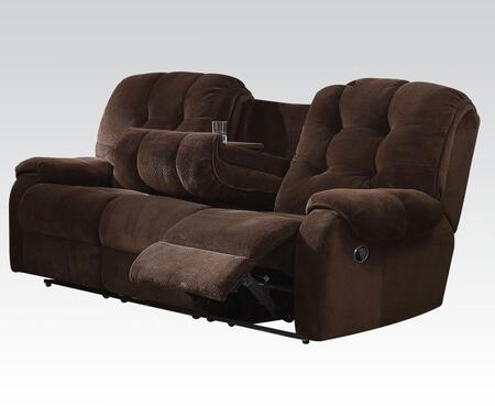 Nailah Collection 51145 88 inch  Motion Sofa with Pocket Coil Seating  Drop Down Cup Holder  Pillow Top Arms and Champion Fabric in Chocolate