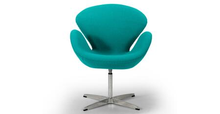 SWAN-TURQUOISE Trumpeter Chair  Turquoise Boucle Cashmere