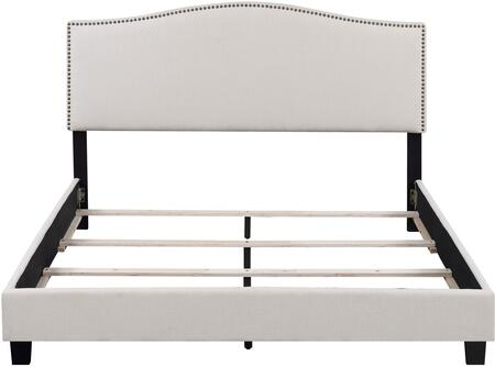 Barron U-31205-KGBED-7A 89 inch  King Upholstered Bed with Upholstered Side Rails  Arched Headboard and 4 Cross Slats with Support Leg in Stallion Ivory Fabric and