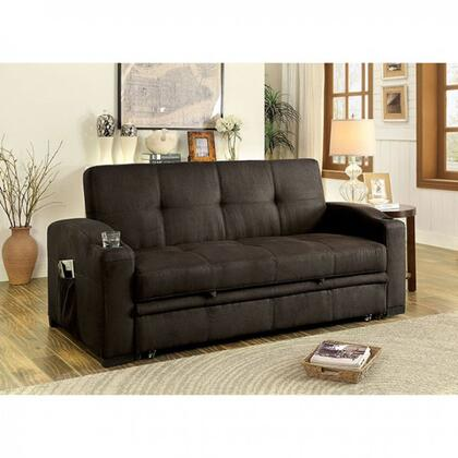 "Mavis Collection CM2691-SET 75"" Futon Sofa with Tufted Cushion  Pull-out Underseat Base  Alternate Expansive Bed and Fabric Upholstery in Dark"