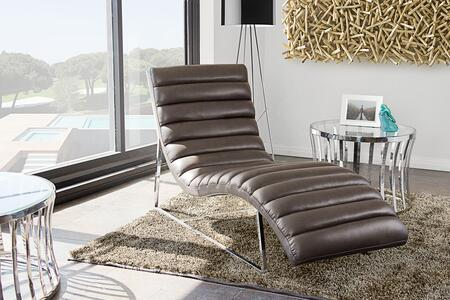 """Bardot_BARDOTCAEG_58""""_Chaise_Lounge_with_Channel_Tufted_Design__Sensuous_Curves__Stainless_Steel_Frame_and_Bonded_Leather_Upholstery_in_Elephant_Grey"""
