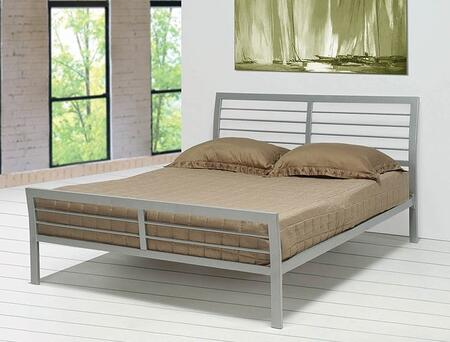 Mod Metal Collection 300201Q Queen Size Bed with Open-Frame Panel Design  Slat Kit Included and Steel Metal Construction in