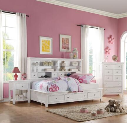 Lacey Collection 30590T3SET 3 PC Bedroom Set with Twin Size Daybed  Chest and Nightstand in White