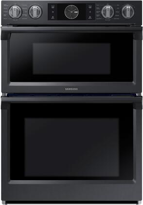 "NQ70M7770DG 30"" Double Wall Oven with 5.1 cu. ft. Total Capacity  Dual Convection Oven  Steam Cooking  WIFI  Knob with LCD Interface and a Glide Rack  in Black"
