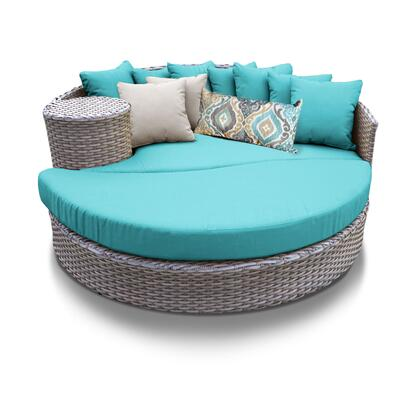 OASIS-ARUBA Oasis Circular Sun Bed - Outdoor Wicker Patio Furniture with 2 Covers: Grey and