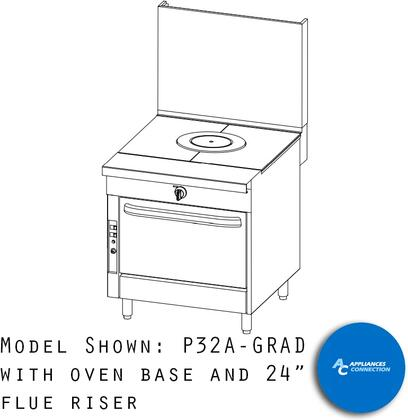 "P32CGRAD Platinum Series 32"" Graduated Hot Top with a Standard Burner and Battery Spark Ignition  Up to 62000 BTUs (NG)/42000 BTUs (LP)  Cabinet"