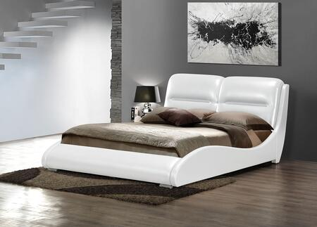 Romney Collection 24720Q Queen Size Bed with Low Profile  Chrome Metal Legs  Curved Side Rails and Bycast PU Leather Upholstery in White