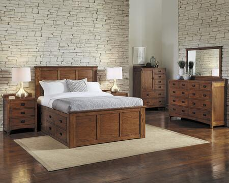 Mission Hill Collection MIHHAQCBDM2NDC 6-Piece Bedroom Set with Queen Captains Bed  Dresser  Mirror  2x Nightstands and Door Chest in Harvest