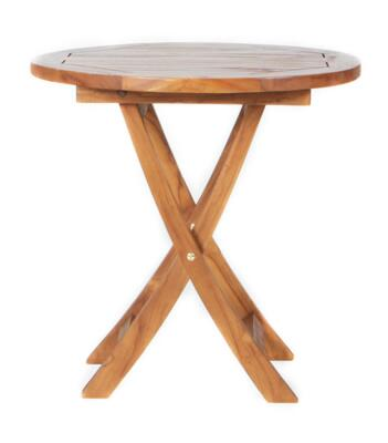 TS26 26 Teak Side Table with Java Indonesian Teak  Fold Away Design and Stretcher in Natural Teak