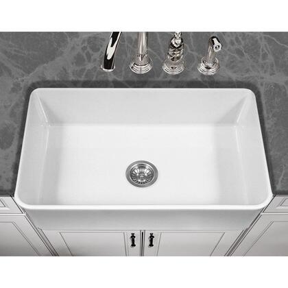 PTS-4300 WH Platus Series 33-Inch Apron-Front Fireclay Single Bowl Kitchen Sink