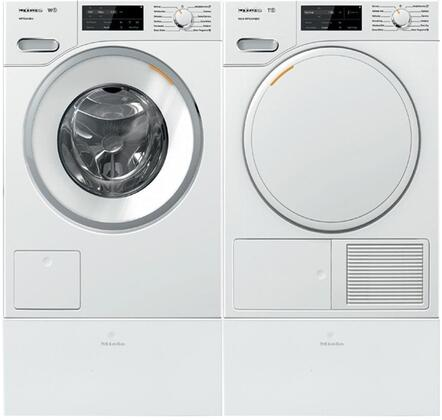 White Front Load Laundry Pair with WWF060WCS 24 inch  Front Load Washer  TWF160WP 24 inch  Electric Dryer  and