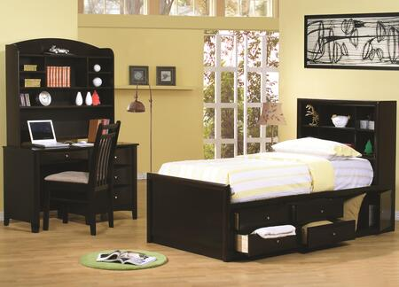 Phoenix Collection 400180tset 4 Pc Bedroom Set With Twin Size Storage Bed + Computer Desk + Hutch + Chair In Cappuccino
