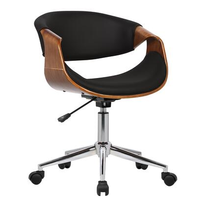 Geneva Collection LCGEOFCHBLACK Mid-Century Office Chair in Chrome finish with Black Faux Leather and Walnut Veneer