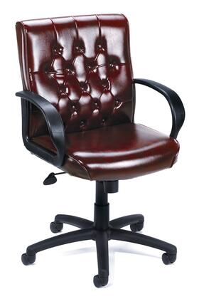 B8507-BY Burgundy Button Tufted Mid Back Executive Chair With Knee
