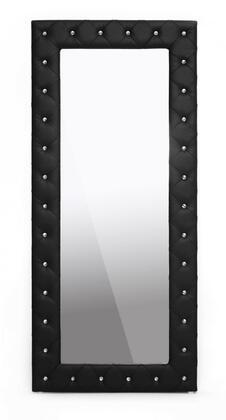 Baxton Studio BBTM27-Black-Mirror Stella Modern Floor Mirror with Faux Crystal Tufted  Polyurethane Foam Padding  Rubberwood Frame and Faux Leather