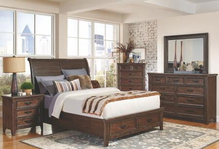 Ives Collection 205250qset 5 Pc Bedroom Set With Queen Size Bed + Dresser + Mirror + Chest + Nightstand In Antique Mink