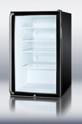 "SCR500BLBISH 20"" 4.1 cu. ft. Glass Door Refrigerator With Factory Installed Lock  Automatic Defrost  Adjustable Glass Shelves  100% CFC Free: Black with Glass"