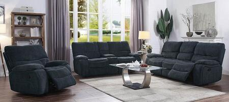 Perry Collection 601937-S3 3-Piece Living Room Set with Reclining Sofa  Reclining Loveseat and Recliner in Navy