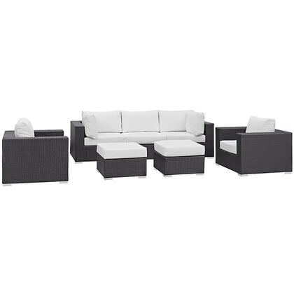 Convene Collection EEI-2200-EXP-WHI-SET 7-Piece Outdoor Patio Sectional Set with Armless Section  2 Armchairs  2 Corner Sections and 2 Ottomans in Espresso and