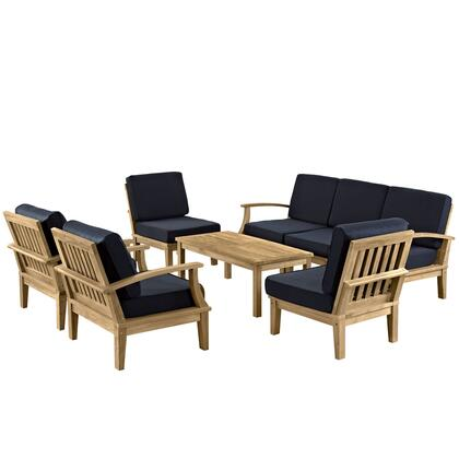 EEI-1479-NAT-NAV-SET Marina 8 Piece Outdoor Patio Teak Sofa + Chairs + Table Set  with Water/UV Resistant Cushions  Machine Washable Covers  and Solid Teak