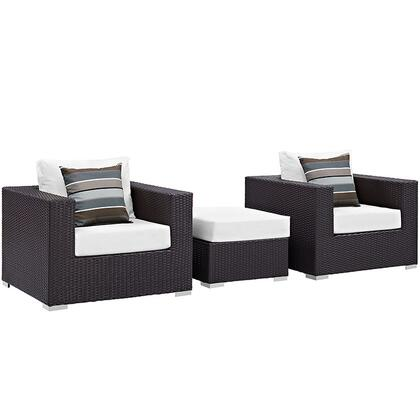 Convene Collection EEI-2363-EXP-WHI-SET 3-Piece Outdoor Patio Sofa Set with Ottoman and 2 Armchairs in Espresso and
