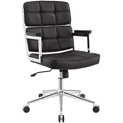 Portray Collection EEI-2685-BRN Office Chair with Adjustable Height  Swivel Seat  Five Dual-Wheel Nylon Casters  Chrome Aluminum Frame and Vinyl Upholstery in
