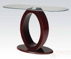 80419 Chastity Sofa Table with Clear Glass Top in Wine