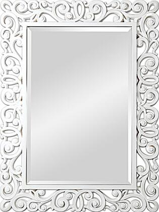 MT879 48x36 Anotella Mirror with PU Frame in White high gloss