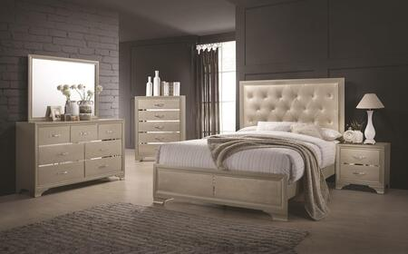 Beaumont 205291KES4 4 Piece Bedroom Set with Eastern King Bed  Mirror  Dresser and Nightstand in Champagne