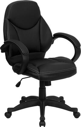 H-HLC-0005-MID-1B-GG Mid-Back Black Leather Contemporary Office