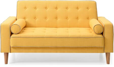 Navi Collection G834A-L 60 inch  Sleeper Loveseat with 2 Bolster Pillows  Tapered Wood Legs  Track Arms  Button Tufted Cushions  Heavy Duty Springs and Fabric