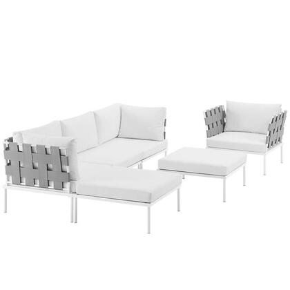Harmony Collection EEI-2626-WHI-WHI-SET 6-Piece Outdoor Patio Aluminum Sectional Sofa with Armchair  Armless Chair  2 Corner Sofas and 2 Ottomans in