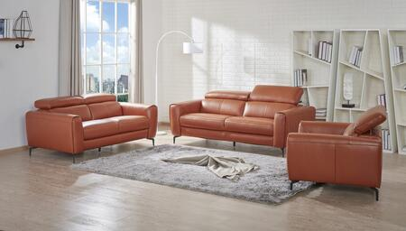 Cooper Collection 18742-SLC 3-Piece Living Room Set with Sofa  Loveseat and Chair in Pumpkin