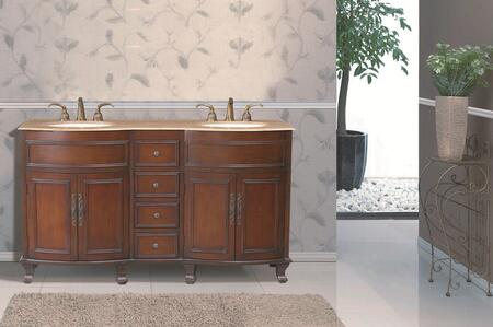 GM-3316-62-TR Stufurhome 62 inch Winslow Double Sink Vanity with Travertine Marble