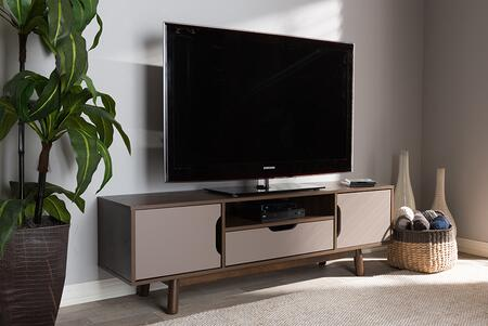 ET 3115-02-BROWN/GREY-TV Baxton Studio Britta Mid-Century Modern Walnut Brown and Grey Two-Tone Finished Wood TV