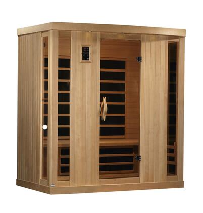 GDI-6454-01 77 inch  Near Zero EMF Far Infrared Sauna with 4 Person Capacity  9 Carbon Heating Elements  Chromotherapy Lighting and Radio with CD and MP3 Auxiliary