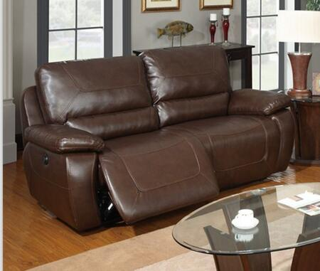 U1027-POWER Double Reclining Brown Power Sofa  Bonded Leather Upholstery with Plush Arms/Back  Reclining