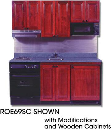 ROE9Y69SC Compact Kitchen with Solid Surface Countertop  2 Electric Burners  Oven  Sink and Compact Refrigerator: 69