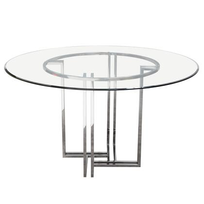DEKO Collection DEKORDT Polished Stainless-Steel Round Dining Table with Clear  Tempered Glass Top in Stainless