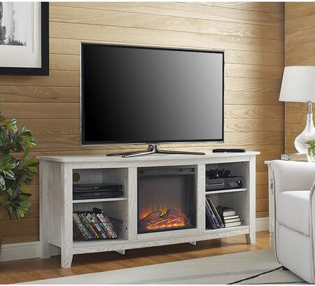 "W58FP18WW 58"" Wood Fireplace Media TV Stand Console -"