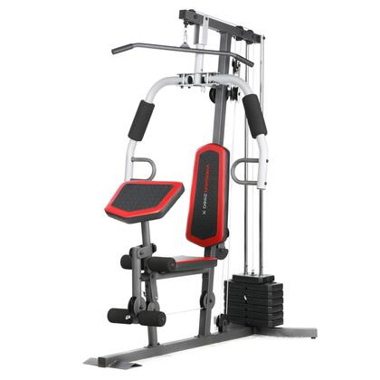 WESY1938 2980 X Home Gym System with 4-Roll Leg Developer  High Pulley with Lat Bar  Chest Fly and Ankle Strap with Handle  in