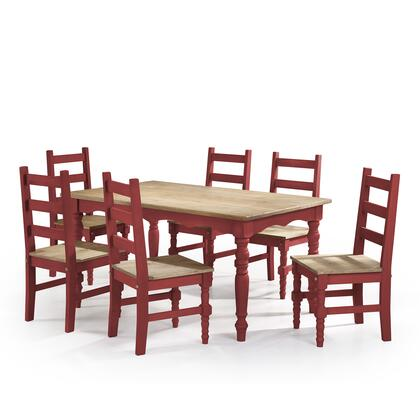 CSJ303 Jay 7-Piece Solid Wood Dining Set with 6 Chairs and 1 Table in Red