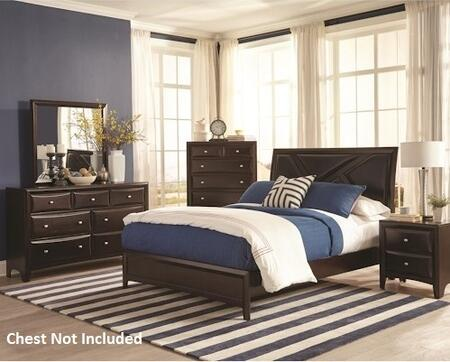 Rossville Collection 204381q4pc 4-piece Bedroom Set With Queen Bed  Night Stand  Dresser And Mirror In Medium Cappuccino