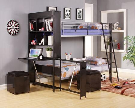 Risley 372102pc Bedroom Set With Twin Bunk Bed + Storage Ottomans In Silver And Black