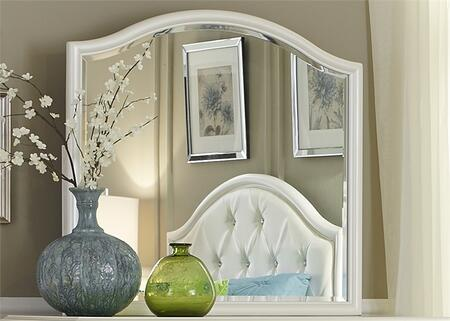 Stardust Collection 710-BR50 39 inch  x 37 inch  Mirror with Wood Frame  Molding Details and Beveled Glass in Iridescent White