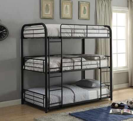 Cairo Collection 37335 Twin Size Triple Bunk Bed with Slat System Included  Built-In Ladders  Easy Access Guardrail and Powder Coating Metal Frame in Sandy