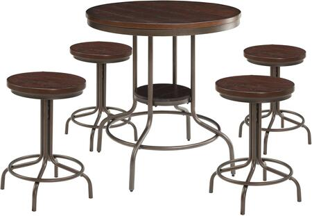 Burney Collection 71640 5 PC Counter Height Dining Set with Wooden Seat Stool  Grooved Table  Metal Frame and Medium-Density Fiberboard