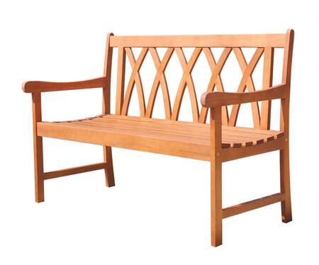 V1634 Malibu Eco-Friendly 4-Foot Outdoor Hardwood Garden Bench  Natural