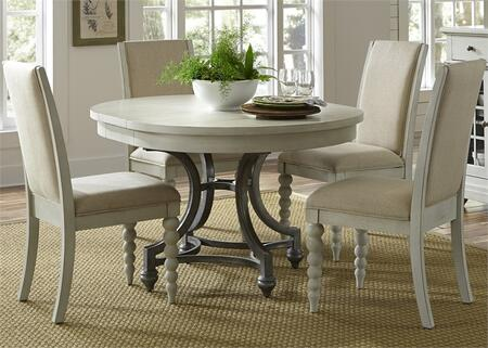 Harbor View III Collection 731-DR-O5ROS 5-Piece Dining Room Set with Round Dining Table and 4 Upholstered Side Chairs in Dove Gray