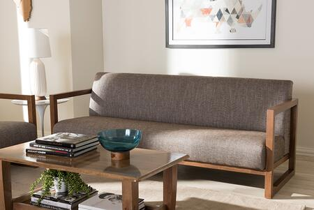 BBT8019-SF-GRAVEL-TH1308 Baxton Studio Valencia Mid-Century Modern Walnut wood Finished Gravel Fabric Upholstered 3-Seater